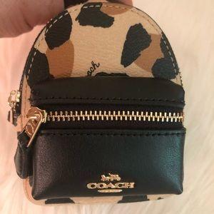 NWT Coach Leopard Keychain Mini Backpack